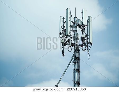 Mobile Phone Towers And 3g And 4g System, With Space For Place Your Text.