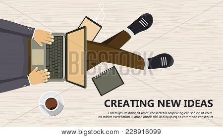Creating New Ideas Business Banner. Man Sitting On The Wooden Floor And Holding Lap Top In His Lap.