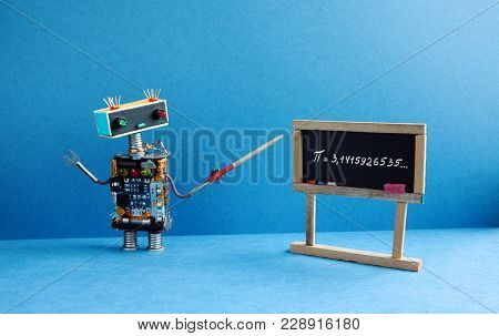 Math Lesson. Robot Professor Explains Pi Mathematical Constant Irrational Number 3.1415926535. Frien