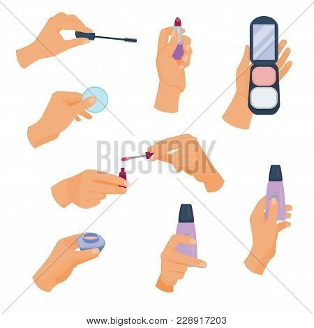 Arm Holds A Different Make Up. Holding Hands With Cosmetics. Vector Illustration. Cartoon Style.