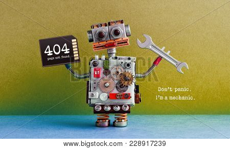404 Error Page Not Found. Creative Design Robot, Hand Wrench Memory Card. Green Blue Background. Fix