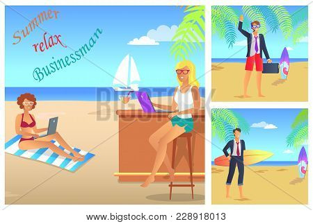 Businessman Summer Relax Color Vector Illustration With Two Men And Women On Shiny Beach, Diving Mas