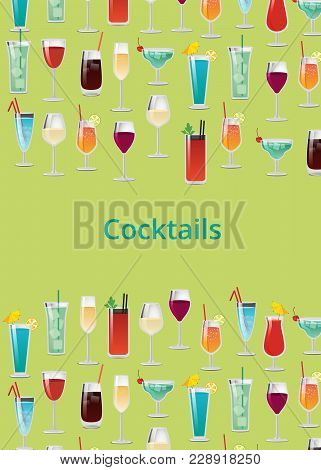Cocktail Set Color Poster Vector Illustration With Bloody Mary, Mojito And Gin, Margarita Blue Lagoo