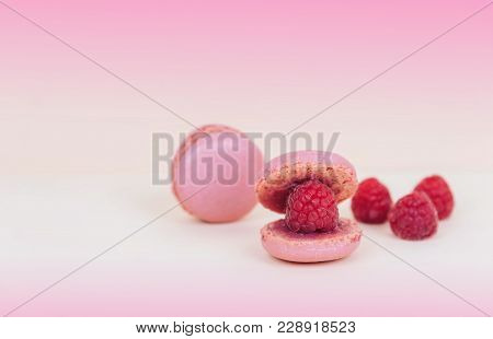 French Macaroon Cake Macaroons As A Shell With Raspberry Pearl. Creative Minimal Design.