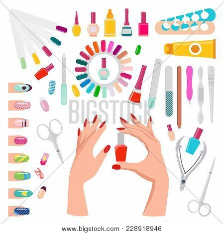 Nail Art, Poster With Samples And Tools, Hands Holding Botle With Polish, Tube With Essential Oil, T
