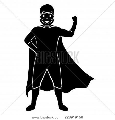 Isolated Superdad Cartoon Character Silhouette. Vector Illustration Design