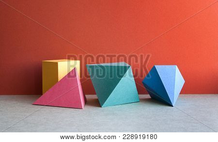 Colorful Abstract Geometrical Composition. Three-dimensional Prism Pyramid Tetrahedron Rectangular C