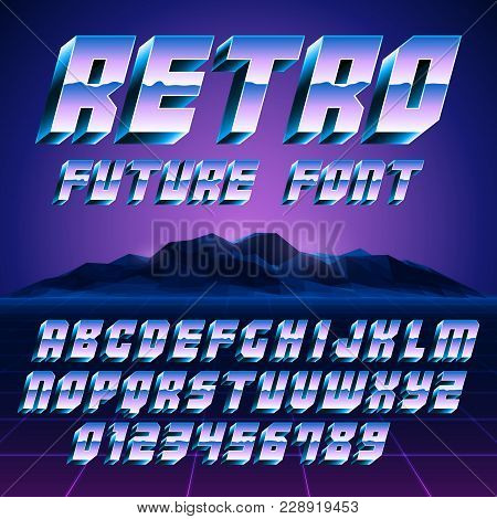 Retro 80s Disco Styled Alphabet And Numbers
