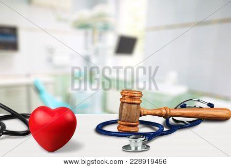Heart Stethoscope Gavel Background Health Board Medical
