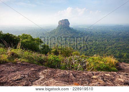 Sigiriya Rock Or Sinhagiri Or Lion Rock Aerial Panoramic View From Pidurangala Rock Near Dambulla In