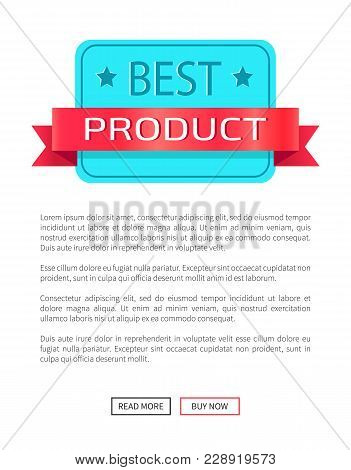 Best Product Award Certificate Discount Label On Poster With Place For Text And Web Buttons Read Mor