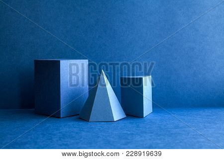 Geometrical Figures Still Life Composition. Three-dimensional Prism Pyramid Tetrahedron Rectangular