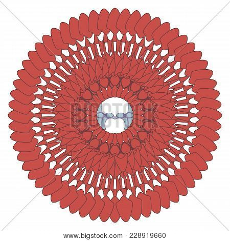 Bright Red Of Repeating Rounded Elements And Lines Pattern With Blue Birds In The Middle