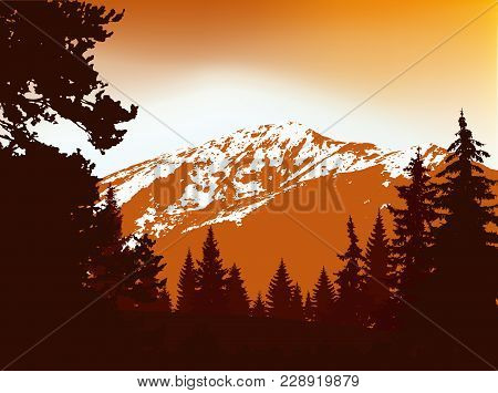 Panorama Of Mountains. Silhouette Of Mountains With Snow And Coniferous Trees On The Background Of G