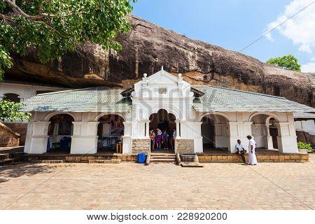 Dambulla Cave Temple Or Golden Temple Of Dambulla. Cave Temple Is A World Heritage Site Near Dambull
