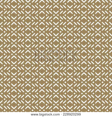 Vector Geometric Seamless Pattern In Asian Style. Modern Abstract Gold And White Texture With Small