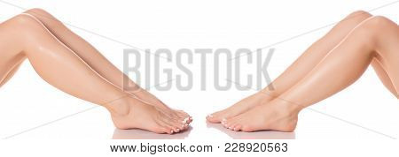 Set Female Feet Legs  From Different Directions Medicine Beauty Health On A White Background Isolati