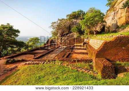 Royal Palace Ruins On The Top Of Sigiriya Rock Or Lion Rock Near Dambulla In Sri Lanka