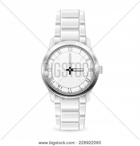 Men Watch With Metal Bracelet. Roman Numerals On Clockface. Vector 3d Illustration Isolated On White