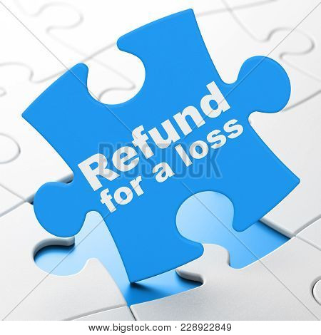 Insurance Concept: Refund For A Loss On Blue Puzzle Pieces Background, 3d Rendering