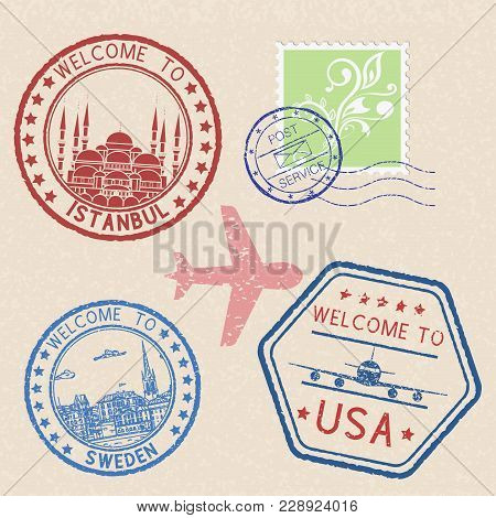 Decorative Colored Welcome Stamps And Postal Elements. Vector Illustration On Beige Background