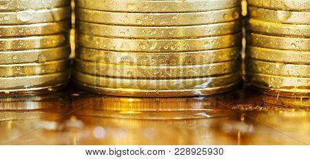 Golden Coins Close-up - Web Banner Of Business Success Concept