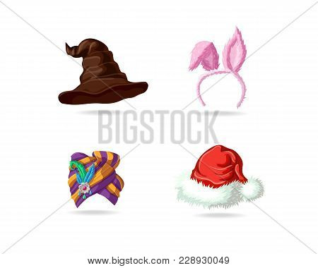 Set Of Bright Magic Caps. Witch Hat For Halloween. Easter Mask With Rabbit Ears. Bright East Turban.