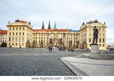 24.01.2018 Prague, Czech Republic - Residence Of The Czech President In The Prague Castle