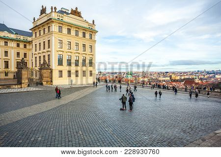 24.01.2018 Prague, Czech Rebuplic - View Of The City From The Observation Deck At The Entrance To Pr