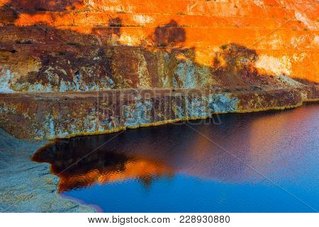 Abandoned Open-pit Mine Of Sulfide Ore Deposits In Sao Domingos, Portugal