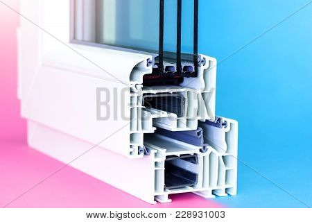 Cross Section Of Window And Glazing. Design Of Pvc Profiles For Window, Triple Glass, Double Chamber