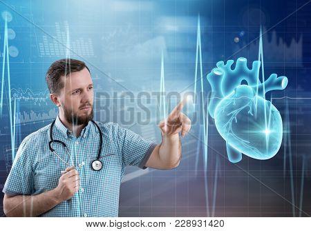 Modern Medicine Cardiology Concept. Handsome Male Doctor
