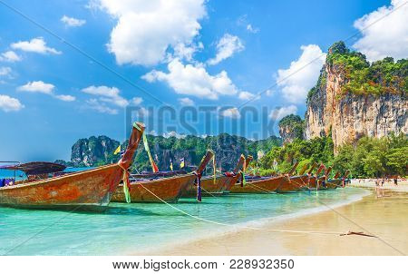 Long Tail Boats On Railay Beach In Krabi Region, Thailand