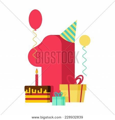 1 Year Happy Birthday Greeting Card. 1th Anniversary Celebration Template. One Figure And Festive Pi