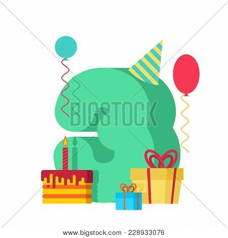 3 Year Happy Birthday Greeting Card. 3th Anniversary Celebration Template. Three Number And Festive