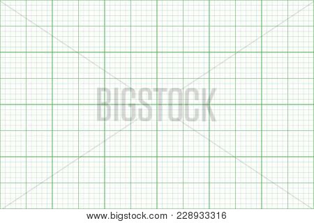 Graph Paper. Seamless Pattern. Architect Background. Green Millimeter Grid. Vector Illustration