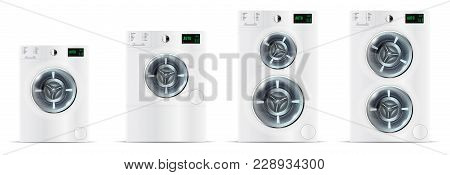Set Of Front Load White Washing Machines With With Electronic Co