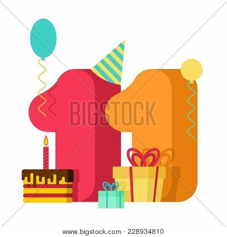 11 Year Greeting Card Birthday. 11th Anniversary Celebration Template. Eleven Number And Festive Pie