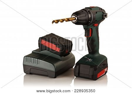 Cordless Drill Screwdriver And Battery With Charger On White Background