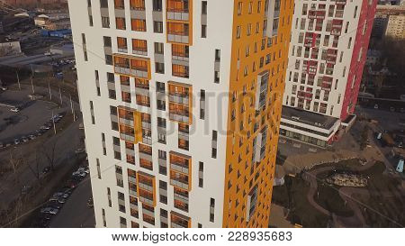 Top View Of Colored Residential Complex. Clip. Beautiful Stylish Houses Of Different Colors In A Lux