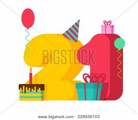 21 Year Birthday Sign. 21th Template Greeting Card Anniversary Celebration. Twenty-one Number And Fe