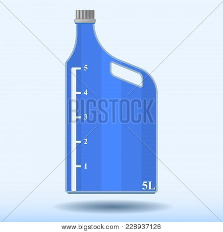 Vector Image Of A Plastic Bottle With A Measuring Scale Of Five Liters. Pattern With A Shadow From A