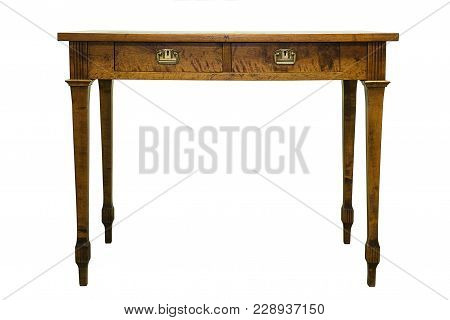 Vintage Art Nouveau Style Small Hard Wood Table Isolated On White