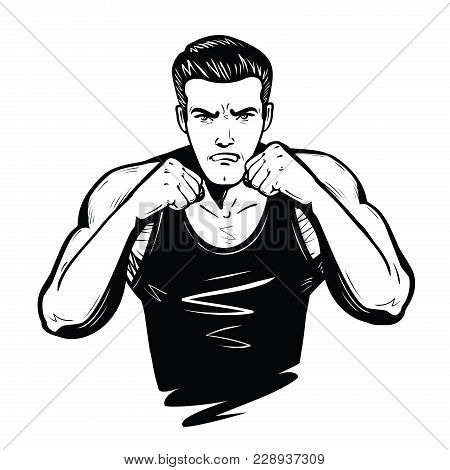Aggressive Fighter With Fists. Fight, Battle, Combat Concept Sketch Vector