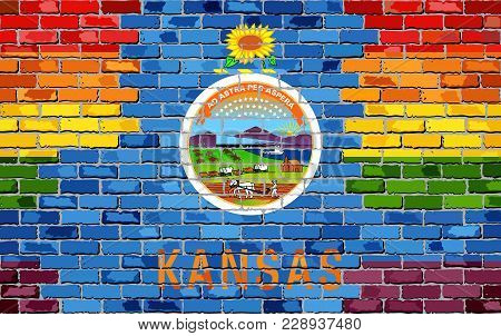Brick Wall Kansas And Gay Flags - Illustration, Rainbow Flag On Brick Textured Background,  Abstract