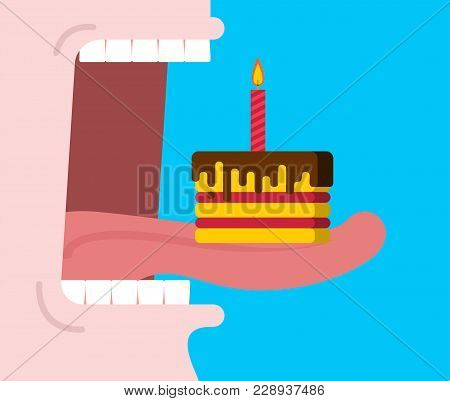 Open Mouth Eats Birthday Cake. Piece Of Cake With Candle. Anniversary Food. Tongue And Teeth