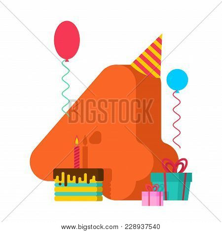 4 Year Birthday Sign. 4th Template Greeting Card Anniversary Celebration. Four Number And Festive Pi