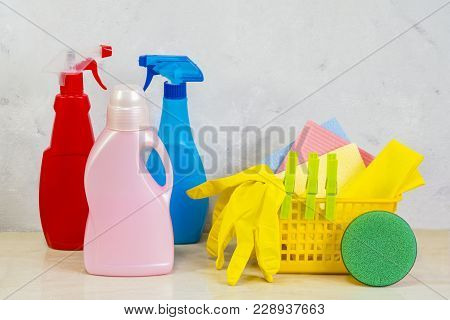 A Cleaning Kit With Tools And Products At Home. Day Of Cleanliness.