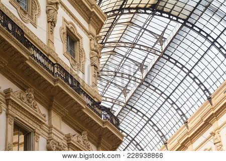 Perspective View Architectural Detail Of Glass And Steel Structure Roof Over Light Colored Building