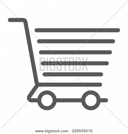 Shopping Cart Line Icon, E Commerce And Store, Food Retail Sign Vector Graphics, A Linear Pattern On